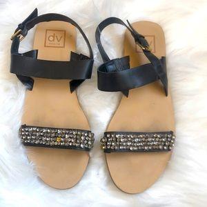 Dolce Vita Black Leather Sandals w/ Crystals Sz7.5